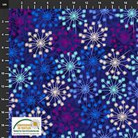 Flowers In The Wind Flowers on Navy Fabric 0.5m