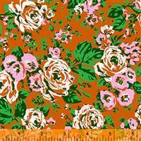 Posy Bright Big Roses On Rust Fabric 0.5m