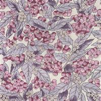 Country Floral Purple Berries Leaves on White Fabric 0.5m Exclusive