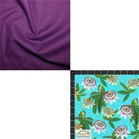 Garden Passion Flowers on Blue with Imperial Fabric Bundle (1m)