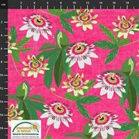 Garden Passion Flowers on Pink Fabric 0.5m