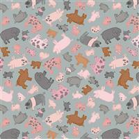 Lewis & Irene Piggy Tales Pigs Pigs Pigs On Grey Fabric 0.5m
