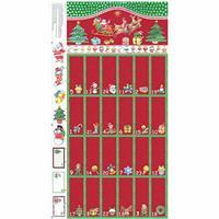 Christmas Red Advent Calendar Fold and Stitch Panel 0.6m