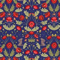 Lewis & Irene Poppies Navy Poppy Sprout Fabric 0.5m