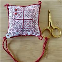 The Cross Stitch Guild Little Redwork Pincushion with Scissors