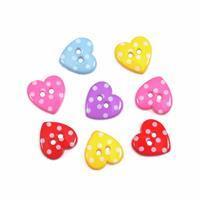 Novelty Dotty Heart Buttons Pack of 8