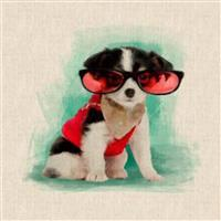 Chihuahua Red Glasses Linen Look Panel (0.46m x 0.46m)