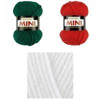 The Snowman Family Hat & Scarf Yarn Bundle: red, white, green