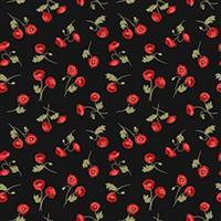 Lewis & Irene Poppies Black Mini Poppies Fabric 0.5m