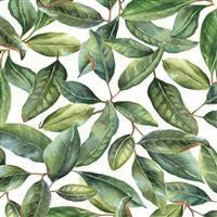 Magnolia Leaves On Cream Fabric 0.5m