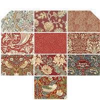 William Morris Antique Red FQ Pack of 10 Pieces