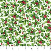 Here Comes Santa Holly On White Fabric 0.5m