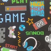 Game On Icons Black Fabric 0.5m