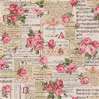 Vintage Collage On Natural Cotton Linen Fabric 0.5m