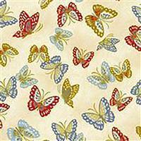 Niwa  Butterflys on Cream Fabric 0.5m