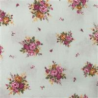 Floral Story Rose On Mint Fabric 0.5m - Sewing Street exclusive