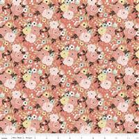 Riley Blake Joy In The Journey Coral Floral Fabric 0.5m