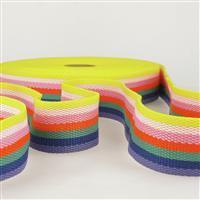 Webbing Multi-Coloured Bright Stripes 40mm (1m)