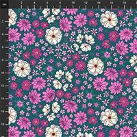 Primavera Ditsy Floral on Teal Fabric 0.5m