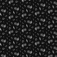 Music Scattered Notes On Black Fabric 0.5m