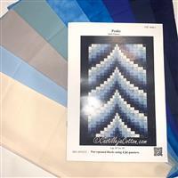 Blue Bargello Quilt Kit: Instructions, FQ (8pcs) & Fabric (1m)