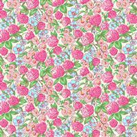 Henry Glass Nana Mae V Pink Clover and Daisy Fabric 0.5m