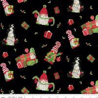 Riley Blake Gnome for Christmas Black Wrapped Gnome Flannel Fabric 0.5m