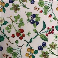 Country Floral Bright Multi Berries on White Fabric 0.5m Exclusive