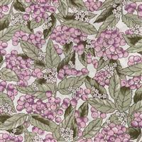 Country Floral Lilac Berries Leaves on White Fabric 0.5m Exclusive