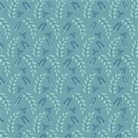 Riley Blake Poppy & Posey Teal Leaf Fabric 0.5m