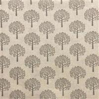 Mulberry Trees Grey All-Over Linen Look Fabric 0.5m