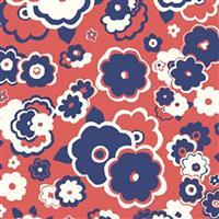 Liberty Carnaby Collection Cosmos Cloud Red and Blue Fabric 0.5m