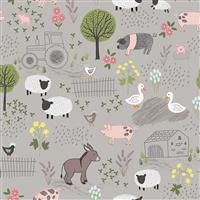 Lewis & Irene Piggy Tales Farmyard Scenes On Stone Fabric 0.5m