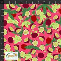 Garden Passion Leafy Fruit on Pink Fabric 0.5m