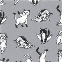 Sawa Cats On Grey Fabric 0.5m