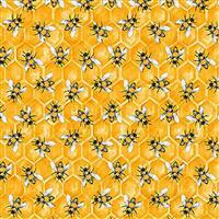 Show Me the Honey in Yellow Honeycomb Bees Fabric 0.5m