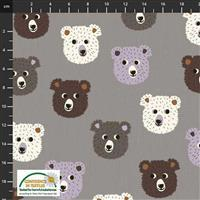 Find The Woods Bears White Grey Fabric 0.5m
