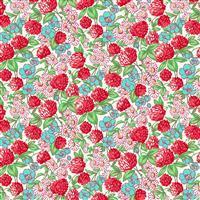 Henry Glass Nana Mae V Red Clover and Daisy Fabric 0.5m