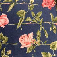 Country Floral Pink Rose on Navy Blue Fabric 0.5m Exclusive