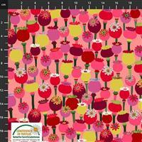 Garden Passion Multi Flower on Pink Fabric 0.5m