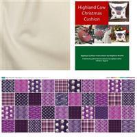 Delphine Brooks Magical Christmas Highland Cow Cushion Kit: Instructions, Fabric Panel & Fabric (0.5m)