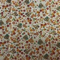 Japanese Carts Cream Metallic Fabric 0.5m