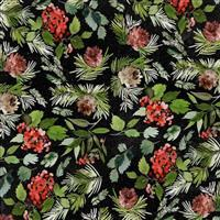 Tim Holtz Christmastime in Evergreen Floral Black Fabric 0.5m