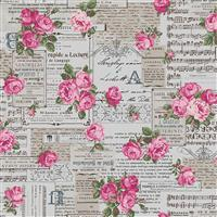 Vintage Collage On Grey Cotton Linen Fabric 0.5m