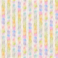 Flowers & Feathers Water Colour Stripe Fabric 0.5m