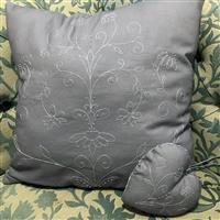 Charcoal Embroidered Heart & Cushion Kit, Instructions & Fabric Panel