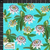 Garden Passion Flowers on Blue Fabric 0.5m
