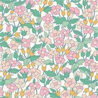 Liberty Carnaby Collection Piccailly Poppy Pink and Green Fabric 0.5m
