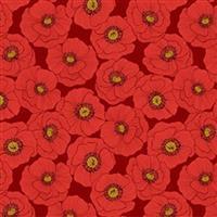 Lewis & Irene Poppies Red Poppy Heads Fabric 0.5m