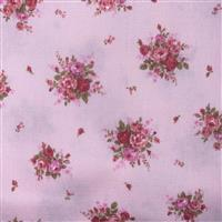 Floral Story Rose On Pink Fabric 0.5m - Sewing Street exclusive